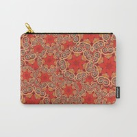 K143 - Red Curls Abstract Carry-All Pouch by gx9designs