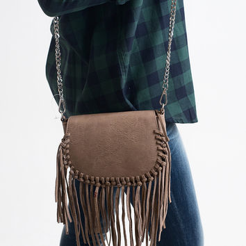 What The Fringe Taupe Crossbody Bag