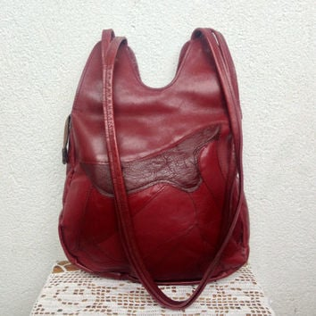 Maroon Leather Tote Bag, Oxblood Leather Shoulder Bag, Patchwork Bag, Satchel Purse, Festival Handbag, Hippie Hobo Bag, 70s 80s School Bag