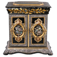 Papier Mache and Mother-of-Pearl Table Cabinet circa 1860