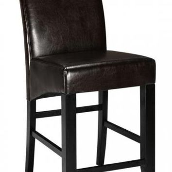 Parsons Rolled-Back Leather Counter Stool - Counter Stools - Seating - Furniture | HomeDecorators.com