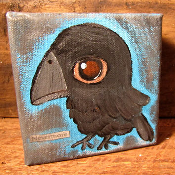 The Raven, Edgar Allan Poe, Big Eyed Bird, Artwork for Kids, Wall Art, Nursery Art, Kids Room