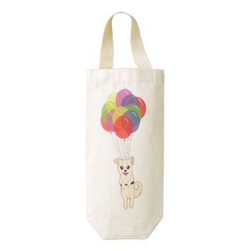 Puppy with Balloons Zazzle HEART Wine Bag