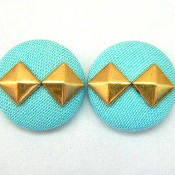 Button Earrings Tiffany Blue- Pyramid Gold Studs