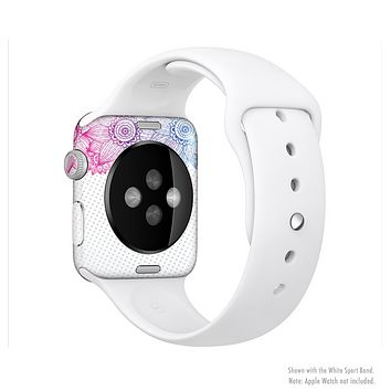 The Vibrant Vintage Polka & Sketch Pink-Blue Floral Full-Body Skin Kit for the Apple Watch