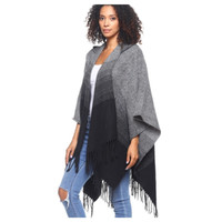 """Always My Style"" Fringe Trim Black Ombre' Hooded Poncho"