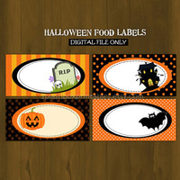 Halloween Printable Food Labels or Place Cards (for Birthdays and Halloween Parties)- Instant Download