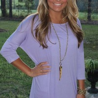 Bangles Boutique — LILAC HI-LO TOP ACCENTED WITH LACE BACK