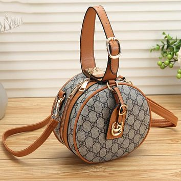 GUCCI Newest Fashionable Women Leather Circular Handbag Tote Crossbody Satchel Shoulder Bag Brown