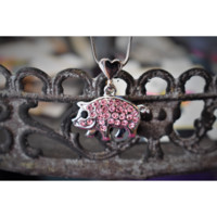 Pink Pig Charm Necklace