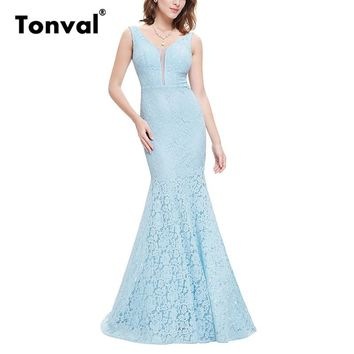 Tonval Vintage Lace Backless Sexy Maxi Dress Women Formal Party Bodycon Dress Elegant Padded Long Mermaid Dresses