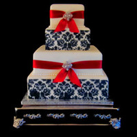 Wedding cake black, red and white damask cake The Twisted Sifter Lexington KY