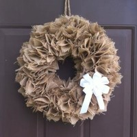 Burlap Fall Wreath for Front Door Hanger Handmade