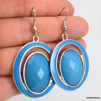 Silver and Light Blue Acrylic Oval Earrings, Blue Earrings, Gift for Her, Gift under 30, Statement Earrings, Easter Jewelry