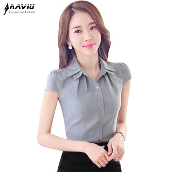 Office women's shirt  OL Summer all-match slim fashion elegant short-sleeve cotton blouse plus size ladies tops