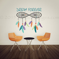 Infinity dreamcatcher wall decal, bedroom wall decal, bohemian wall decal, livingroom decal, feather wall decal, infinity wall decal