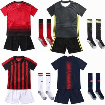 Soccer Uniforms blank Customize Football Jerseys Soccer Kit Youth Kids Football Training Set Boys Girls Sports Suit with socks