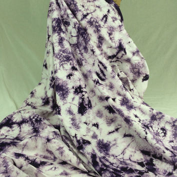 Made in Kenya--African Tie Dye Fabric--African Batik Fabric--Deep Purple and White Tie Dye Fabric--African Fabric by the HALF YARD