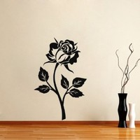 Housewares Vinyl Decal Beautiful Rose Flower Home Wall Art Decor Removable Stylish Sticker Mural Unique Design for Any Room Florists Shop