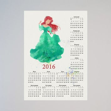 Little Mermaid Ariel Disney Calendar Personalized 2016 Watercolor Picture Print Save the date gift Christmas New Year Birthday present