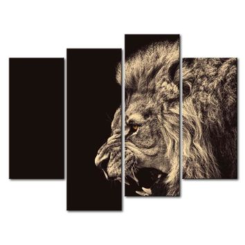 Roaring Lion Big Kitty 4-Panel Wall Art Picture Print on Canvas