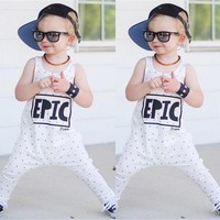 Newborn Baby boys girls letter Rompers Infant Babies Boy Girl Sleeveless Dots Cute Cotton Romper Outfits Kids Clothing