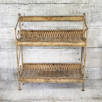 Shelving Unit Hollywood Regency Wicker and Brass Shelves Wall Mount or Standing Shelf Gold Tone Metal and Wicker Shelf Double Shelf