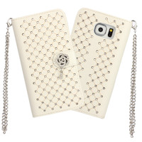 for bling Samsung Galaxy S6 Edge case flip leather case for Samsung Galaxy S6 Edge with fashion long chain free shipping