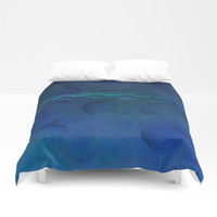 Dark Navy Blue Textured Abstract Duvet Cover by Sheila Wenzel