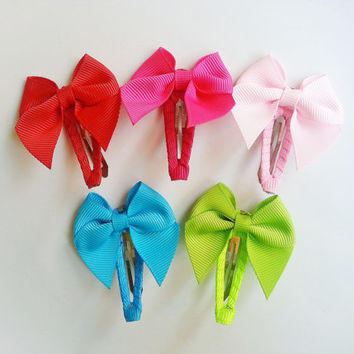 Rainbow Hair Clips, Set of 5 Snap Clips, Mini Hairbows on Ribbon Covered Snap Clips, Mini Hairbows