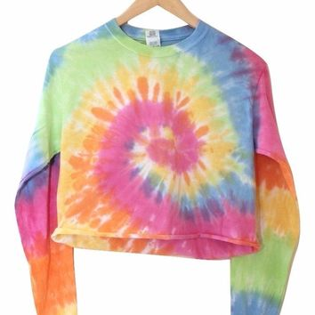 Pastel Rainbow Tie-Dye Cropped Long Sleeve Tee
