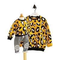 2pcs/lot autumn spring family matching clothes Leopard mother daughter outfits family look mom and child clothes outwear HM579