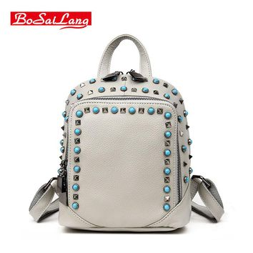 Hot Sale Genuine leather Fashion Casual  Solid Women Backpack Girls Sticker High Quality Schoolbag College Style Backpack