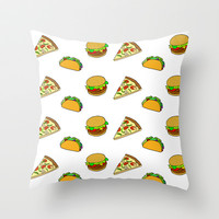 Pizza Taco Burger Pattern Throw Pillow by RexLambo