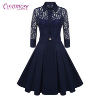 Coromose 2017 Women Vintage Pleated Dress Autumn Retro Style Slim Casual Party Swing Lace Dress 50s 60s rockabilly dress