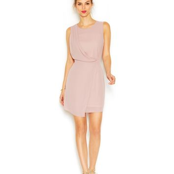 Bar III Sleeveless Drape Overlay Dress