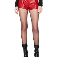 Saint Laurent Leather Shorts in Red | FWRD