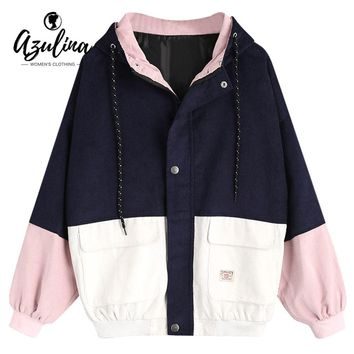 Trendy AZULINA Winter Jacket Women Color Block Hooded Corduroy Jacket Female Drawstring Hit Color Patched Pockets Coat Women Outerwear AT_94_13
