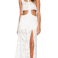 Lost in Alila Sunchaser T-Bar Crop Top & Maxi Skirt Set in White