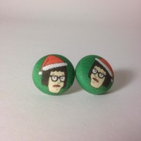A Very Tina Belcher Christmas - Fabric Covered Button Earrings or Cufflinks