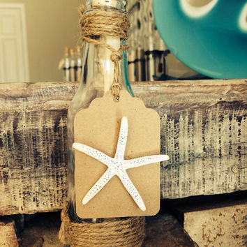50 Starfish Message in a Bottle Wedding Invitations -Pre-Stamped RSVP Card Included