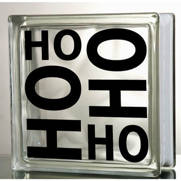 Ho Ho HO Glass Block Decal Tile Mirrors DIY Decal for Christmas Glass Blocks Ho Ho Ho