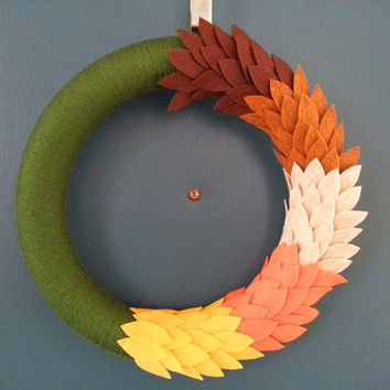 Fall Olive Green Yarn Wreath with Multi Colored Felt Leaves