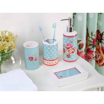 Indecor Home Bath in a Box 18-Piece Bathroom Set, Polka Dot Floral - Walmart.com