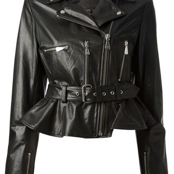 Mcq By Alexander Mcqueen Peplum Leather Jacket