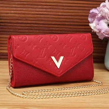 LV Louis Vuitton Women New Fashion Monogram Leather Chain Crossbody Bag Shoulder Bag Red