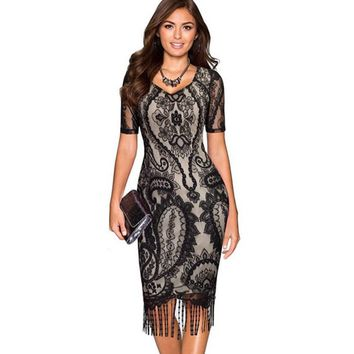Elegant Womens Evening Party Short Sleeve Lace Pattern Tassel Hem Stretchy Sheath Bodycon Fringe Dresses Plus Size