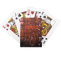 Cool Brown Wooden Ply texture With Wintry Snow Ice Playing Cards