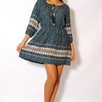 (amd) Boho chic 3/4 sleeves flare short dress
