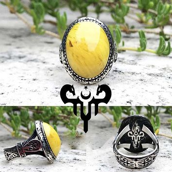 Sultan Abdulhamid yellow fire amber gemstone sterling silver ring